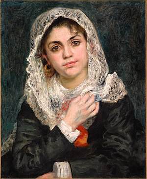 Woman with Parakeet - Pierre-Auguste Renoir's Lise in a White Shawl, another portrait of Tréhot in what is likely the same dress