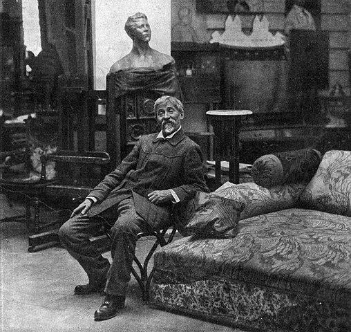 Илья Репин в своей мастерской в Пенатах (Куоккала), 1914