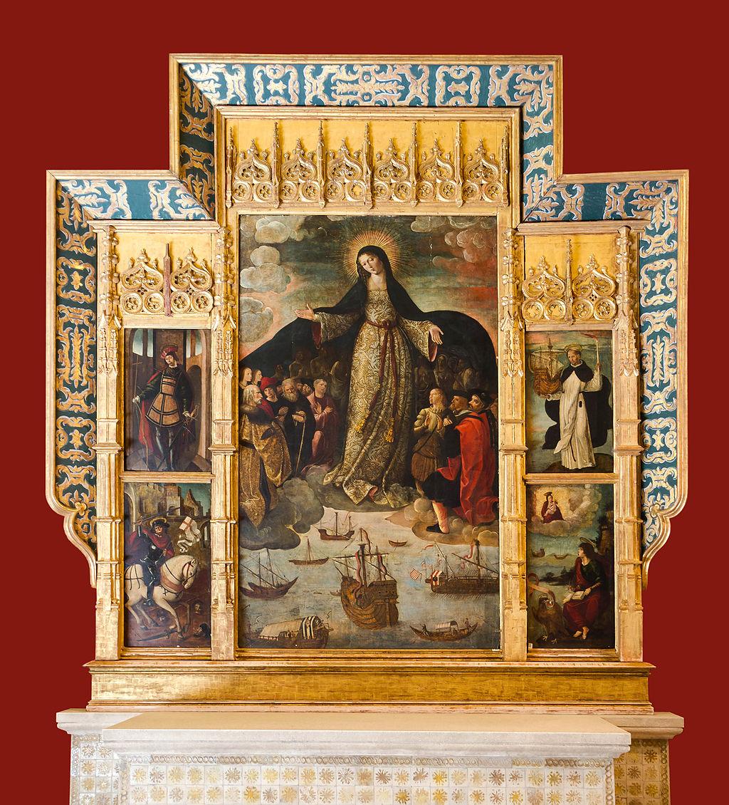 Retablo de la Virgen de los Mareantes. Alcázar de Sevilla. Alejo Fernández 1535. Es la pintura más temprana que se conoce del tema del Descubrimiento.
