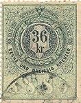 Revenue stamps of Austria-Hungary 36 Kreuzer Stempel-Marke 1885.jpg
