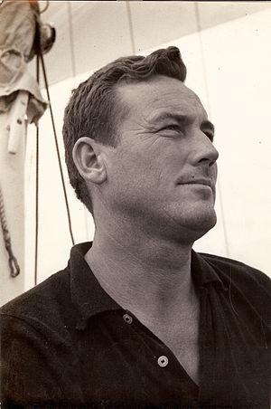 Richard Bertram - Richard Bertram at helm of sailboat, FINISTERRE, during Bermuda Race