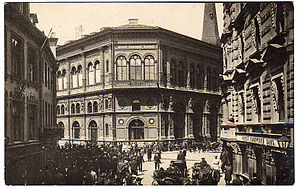 Riga Stock Exchange - Historic postcard view of the Riga Stock Exchange building in the very centre of Old Riga