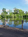 Roadside fishing pond barrier at Matching, Essex, England 01.jpg
