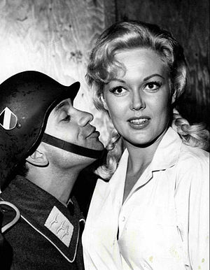 Robert Clary - As LeBeau in Hogan's Heroes with Fräulein Helga (Cynthia Lynn)