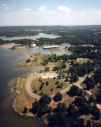 Robert S. Kerr Reservoir - Aerial view, ca. 2.8 miles upriver from the lock and dam