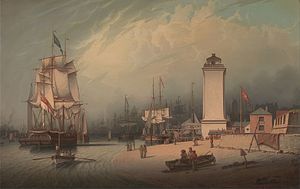 North Shields - North Shields 1828 (by Robert Salmon). From left-right: Shipping on the Tyne, New Low Light, Old Low Light, Clifford's Fort.