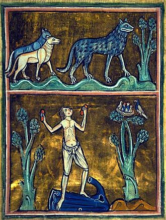 Rochester Bestiary - The gaze of a wolf could strike a man dumb, for which the only cure was tearing off his clothes and hammering two stones together to frighten the wolf away, allegorized as casting off sin to drive away the devil; detail of a miniature from f. 29r; folio 29r.