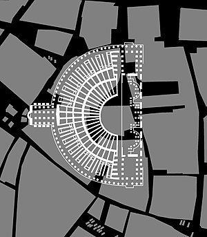 Theatre of Pompey - Graphic of modern Rome in grey and the white overlay of the theatre