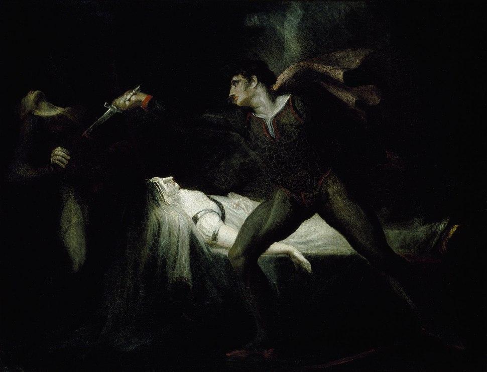 Romeo stabs Paris at the bier of Juliet