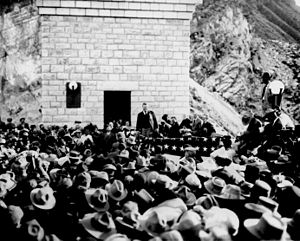 Salt River Project - Dedication ceremonies of Roosevelt Dam (Arizona Territory), Col. Roosevelt speaking, March 18, 1911.