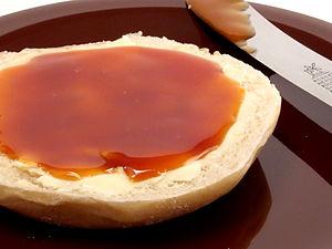 Rose hip - Rose hip jam on a bread roll