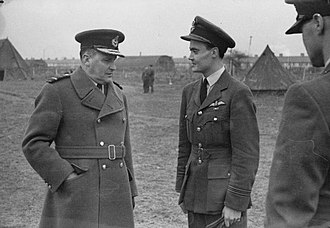 Sholto Douglas, 1st Baron Douglas of Kirtleside - Air Marshal Sir William Sholto Douglas, Commander-in-Chief Fighter Command (left) during a visit to No 61 OTU at Heston, November 1941