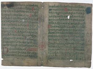 Manuscripts of Dvůr Králové and of Zelená Hora - pages 4 and 5 of the Zelená Hora manuscript