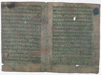 Manuscripts of Dvůr Králové and Zelená Hora - pages 4 and 5 of the Zelená Hora manuscript