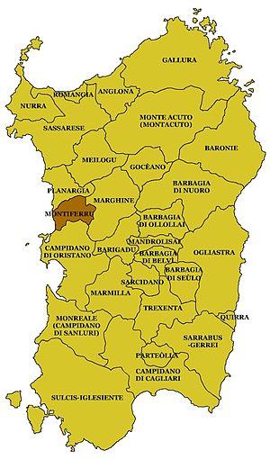 Montiferru - Location of Montiferru in Sardinia.
