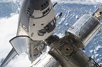 Space Shuttle Atlantis - Atlantis docked to the International Space Station during STS-132 mission.