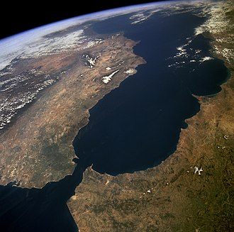 Strait of Gibraltar - The Strait of Gibraltar as seen from space.  The Iberian Peninsula is on the left and North Africa on the right.