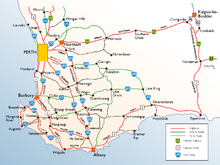 List Of Road Routes In Western Australia Wikipedia - Map of western australia with towns