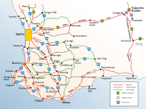 Map Of South West Wa List of highways in Western Australia   Wikipedia
