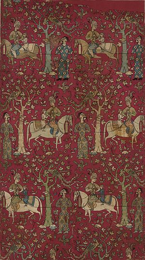 Iranian Georgians - Safavid courtiers leading Georgian captives. A mid-16th century Persian textile panel from the Metropolitan Museum of Art.