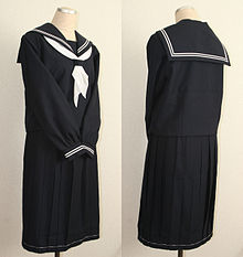 1a30cfdc7aa A winter sailor fuku (sailor outfit) with long sleeves on a mannequin.