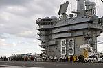 Sailors abroad the USS Dwight D. Eisenhower perform flight operations as Ash Carter and Manohar Parrikar tour the aircraft carrier.jpg