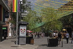 A partial view of Montreal's Gay Village, with Beaudry Metro station to the left.