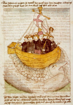 Brendan - Saint Brendan and the whale from a 15th-century manuscript