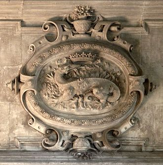 Salamanders in folklore - Salamander as the animal emblem of King Francis I of France at the Château d'Azay-le-Rideau, Vienne, France
