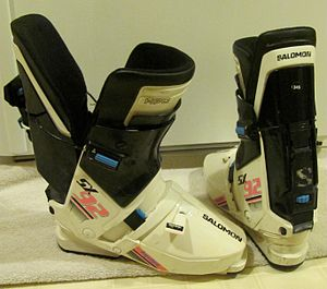 "Ski boot - Salomon's SX 92 Equipe was the penultimate development of their SX series of rear-entry ski boots. The boot on the left is in the ""open"" position."