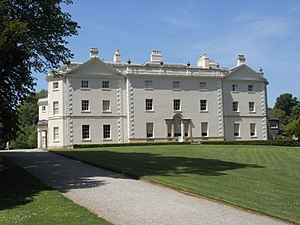 Saltram House - Saltram House, east front; The central block with Venetian window contains the drawing room