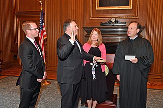 Pompeo being sworn in as Secretary of State by Associate Justice Samuel Alito