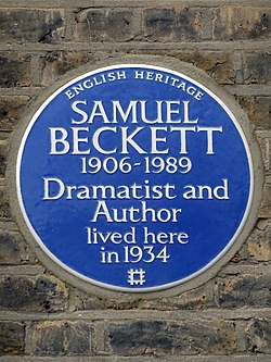 Samuel beckett 1906 1989 dramatist and author lived here in 1934