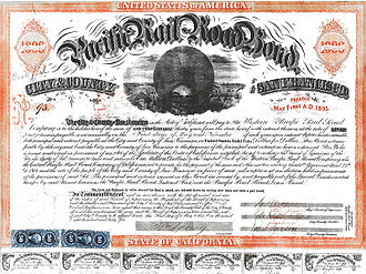 Leland Stanford - Pacific Railroad Bond, City, and County of San Francisco, 1865