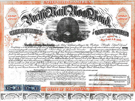 Pacific Railroad Bond issued by City and County of San Francisco, CA. May 1, 1865 San Francisco Pacific Railroad Bond WPRR 1865.jpg
