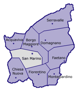 Location of San Marino Municipality within San Marino