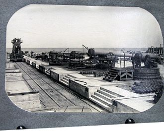 Lesley J. McNair - Proof battery at Sandy Hook Proving Ground, New Jersey where McNair served early in his career. A proof battery enabled testing with different types of artillery. The Sandy Hook firing range extended 3,000 yards along the beach.  For long range firing, the guns were aimed out to sea.