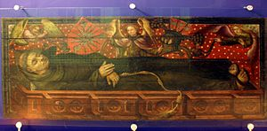 Adolf IV of Holstein - Adolf IV in a sarcophagus: an ideal portrait painted about 1450, originally the lower part of a double portrait in the Maria-Magdalenen-Kloster, Kiel. At 2.77 metres long, the figure is greater than life-size