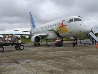 Arauca, Arauca - Embraer 170 jet of the Satena fleet, during loading in the Santiago Pérez Quiroz Airport