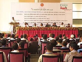 Awami League - Sayed Ashraful Islam, General Secretary of the Awami League, speaking at the 5th Bangladesh Agro Tech Fair in Dhaka on 28 May 2015