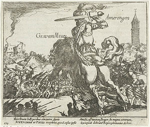 Simon Frisius - Adolf van Nieuwenaar at the Battle of Amerongen: etching from 1613-1615