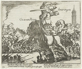 Simon Frisius - Adolf van Nieuwenaar at the Battle of Amerongen: etching from 1613-1615