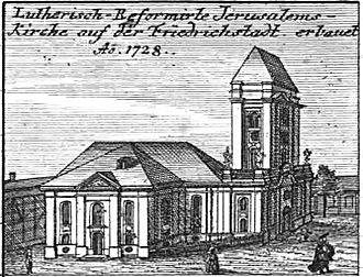 Jerusalem Church (Berlin) - Jerusalem Church with its tower stump in 1757.