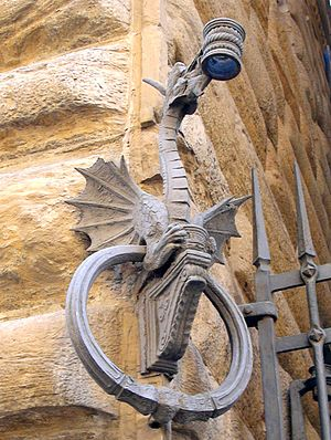 Sconce (light fixture) - Sconce for holding a torch on the walls of the Medici palace, Florence, Italy.