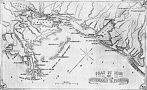 Battle of Lake Borgne - Map showing Lake Borgne, New Orleans, and surrounding areas