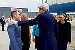 Secretary Kerry Chats With U.S. Ambassador for Security and Co-operation Baer After Arriving at the Vienna International Airport (28364677542).jpg
