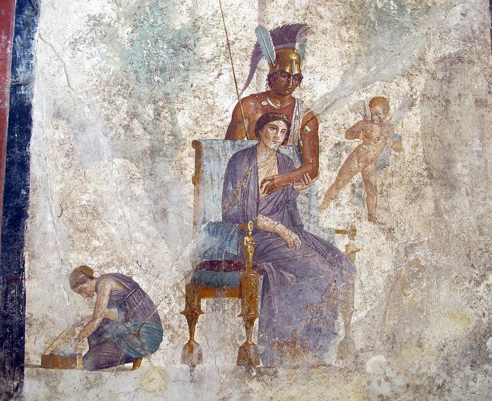 Seduzione tra marte e venere, alla presenza di un amorino e ancella, da casa dell'amore punito a pompei, 9249, 02