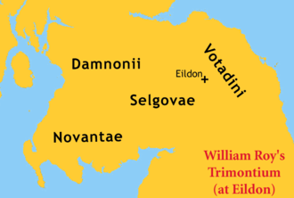Novantae - Location of the Selgovae town of Trimontium according to Roy, who was trying to reconcile problems with the spurious De Situ Britanniae.