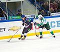 Sergei Plotnikov and Petr Schastlivy 2011-09-23 Amur—Salavat KHL-game.jpeg