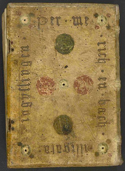 File:Sermones de tempore et de sanctis, Hinterdeckel mit Angabe des Buchbinders.jpg